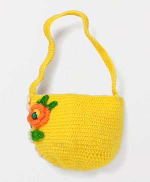 MayRa Knits Flower Applique Bag - Yellow