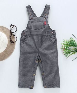 Reiki Trees Solid Sleeveless Dungaree Style Romper - Grey