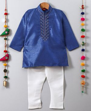 Ethnik's Neu-Ron Full Sleeves Kurta Pyjama Set - Blue & White