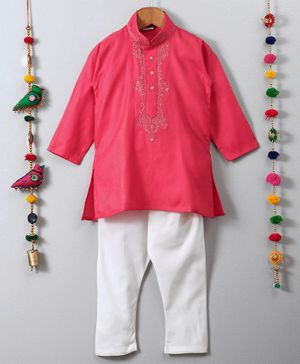 Ethnik's Neu Ron Full Sleeves Kurta And Pajama Set Embroidered Button Placket - Pink