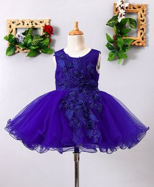 Mark & Mia Roses & Pearls Embellished Sleeveless Net Dress - Deep Blue