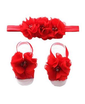 Babymoon (Set of 2) Kids Baby Hairband and Barefoot Kid Babies Sandal - Red