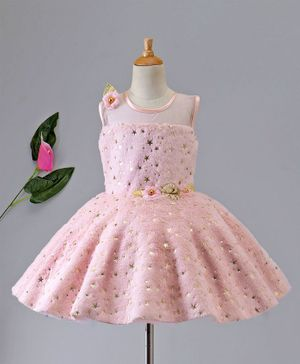 Enfance Star Print Sleeveless Dress With Flower Applique - Peach