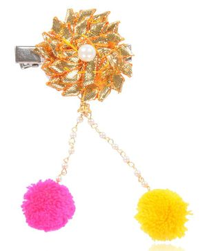 Funkrafts Flower Applique Hair Clip With Pom Pom - Golden