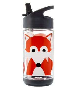 3 Sprouts Water Bottle Fox Print Grey Orange - 355 ml