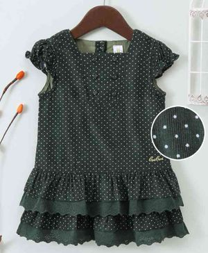 Bee Born Polka Dot Print Cap Sleeves Dress - Green