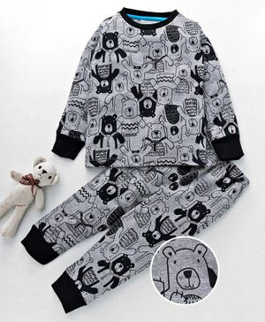 Lazy Shark Teddy Print Full Sleeves Night Suit - Grey