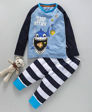 Lazy Shark Fishes Printed Full Sleeves Night Suit - Blue