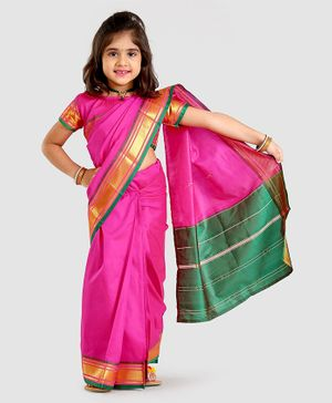 Bhartiya Paridhan Full Length Stitched Designer Saree With Stitched Blouse - Pink