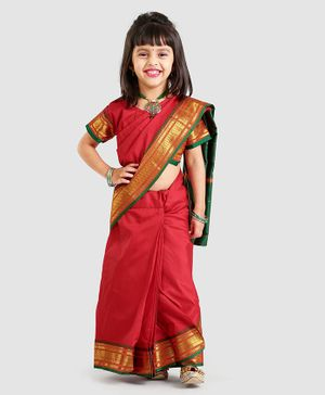 Bhartiya Paridhan Full Length Stitched Designer Saree With Stitched Blouse - Red