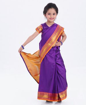 Bhartiya Paridhan Full Length Stitched Designer Saree With Stitched Blouse - Purple