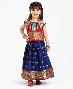 Bhartiya Paridhan Short Sleeves Choli And Pleated Lehenga Floral Embroidery - Navy Blue Red
