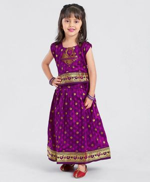 Bhartiya Paridhan Embroidered Lehenga Choli Set With Silk Border - Purple