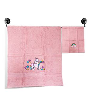 Little Jamun Premium Bath & Hand Cotton Towel Unicorn Print - Baby Pink