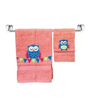 Little Jamun Premium Bath & Hand Cotton Towel Owl Print - Coral