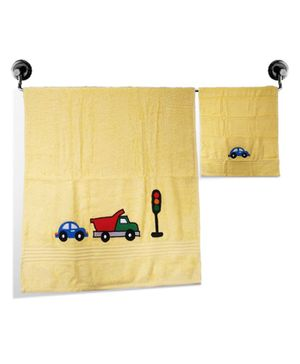 Little Jamun Premium Bath & Hand Cotton Towel Vehicle Print - Cream