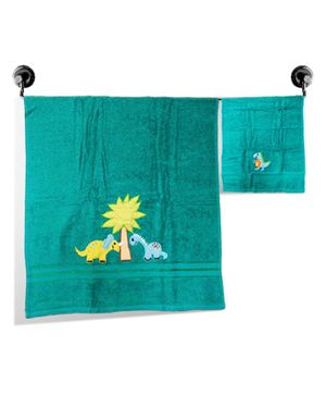 Little Jamun Premium Bath & Hand Cotton Towel Dino Print - Dynamic green