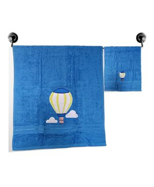 Little Jamun Premium Bath & Hand Cotton Towel Parachute Print - Blue
