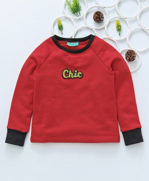 Tiara Bird Embellished Full Sleeves Sweatshirt - Red