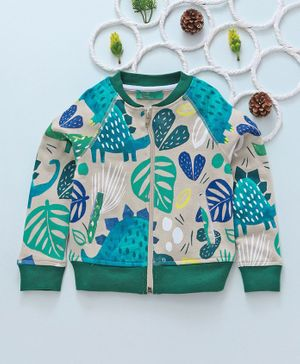 Tiara Leaves Printed Full Sleeves Jacket - Green