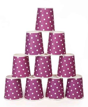 B Vishal Polka Dots Paper Cups Purple - Pack of 10