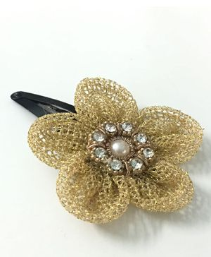 Knotty Ribbons Flower Applique Hair Clip - Golden
