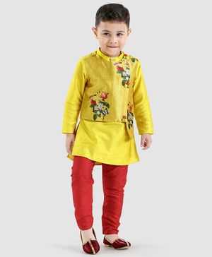 Varsha Showering Trends Full Sleeves Kurta & Churidar Set - Yellow & Red