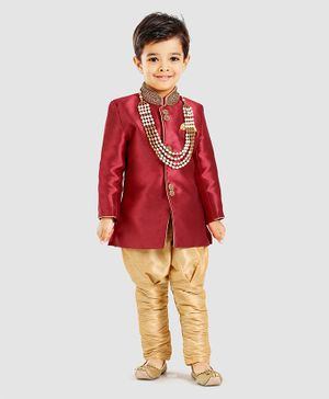 Ethink's Neu Ron Full Sleeves Jari Work Kurta With Dhoti Jodhpuri Breeches & Neck Piece - Maroon