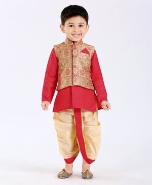 Ethnik's Neu Ron Kurta With Jacket Jodhpuri Breeches And Dhoti - Red