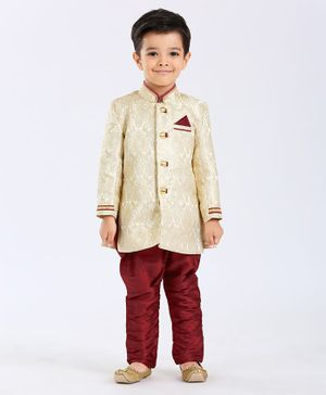 Ethnik's Neu Ron Full Sleeves Sherwani Set - Red & Blue