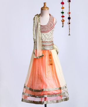 Kid-O-nation Solid Lehenga With Sleeveless Pearl & Lace Work Choli & Dupatta - Peach
