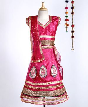 Kid-O-nation Embellished Cap Sleeves Choli & Lehenga Set With Dupatta - Dark Pink