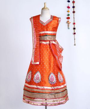 Kid-O-nation Lace & Zardori Work Cap Sleeves Choli & Lehenga With Dupatta - Orange