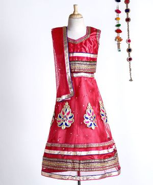 Kid-O-nation Zardori Work Sleeveless Choli & Lehenga With Dupatta - Pink