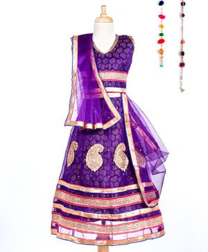 Kid-O-nation Embroidered Sleeveless Choli & Lehenga Set With Dupatta - Purple