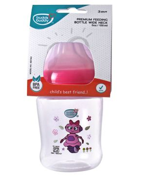 Buddsbuddy Feeding Bottle Robot Print Pink - 125 ml