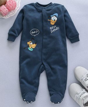 Fox Baby Full Sleeves Footed Romper Best Friends Print - Dark Blue