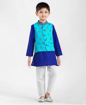 Babyhug Full Sleeves Cotton Silk Kurta Pyjama & Designer Jacket Set - Blue