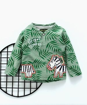 Spark Full Sleeves Tee Zebra Print - Green