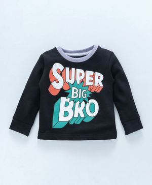 Spark Full Sleeves Tee Super Big Bro Print - Black