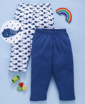 Babyhug Organic Cotton Full Length Lounge Pants Whale Print Pack of 2 - Blue White