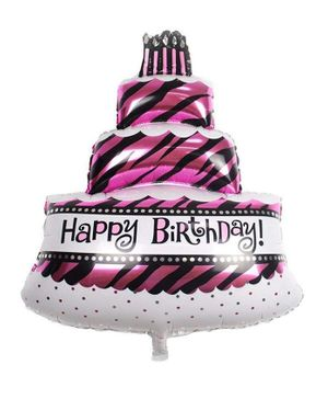 Shopperskart Three Tier Happy Birthday Cake Foil Balloon - Pink & Black