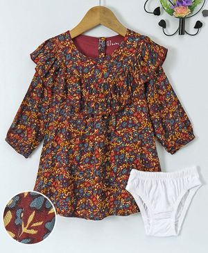 Full Sleeves Frock With Bloomer Floral Print - Maroon & Multi Colour