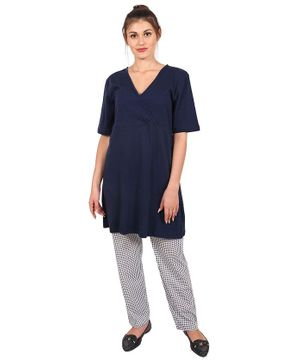 9teenAGAIN Nursing Night Suit Set - Blue & White