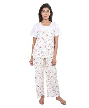 9teenAGAIN Floral Print Nursing Night Suit Set - White