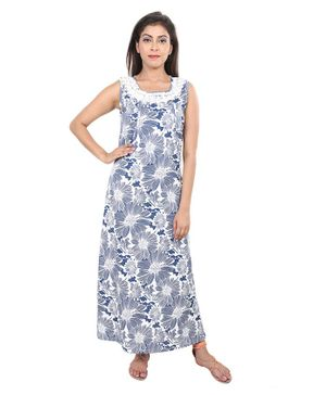9teenAGAIN Floral Print Sleeveless Nursing Nighty - Blue