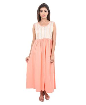 9teenAGAIN Striped Sleeveless Nursing Nighty - Peach