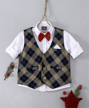 Rikidoos Shirt With Bow Checkered Waistcoat - White & Navy Blue
