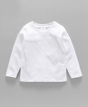 Ollypop Full Sleeves Solid Colour Tee - White