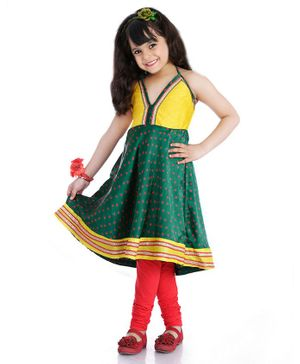 Little Pockets Store Halter Neck Anarkali & Churidar Set - Green